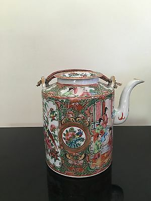 Vintage 18th 19thc Chinese Canton Export Porcelain Famille Rose Mandarin Teapot