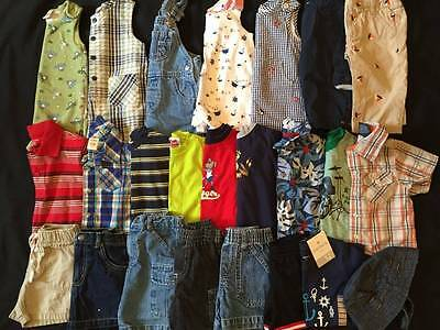 24 pc BABY BOYS Spring & Summer CLOTHES LOT 6-9-12m 6-12 EUC Complete Outfits