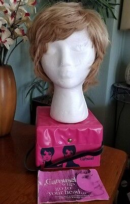 Vintage 2 Wigs Carousel Pink Carrier Tote Retro Mod 60s Hair Do