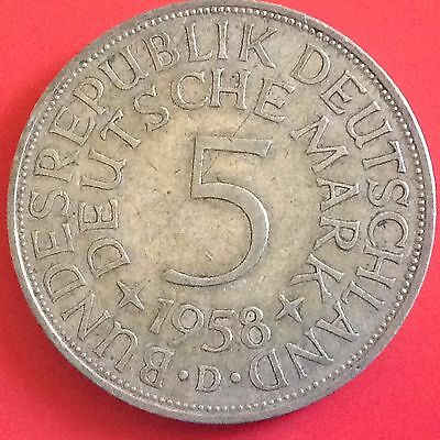 1958 - D  Germany Silver 5 Mark Coin