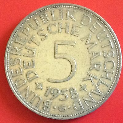 1958 - G  Germany Silver 5 Mark Coin