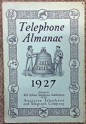 Vintage 1927 Telephone Almanac, AT&T, Bell System