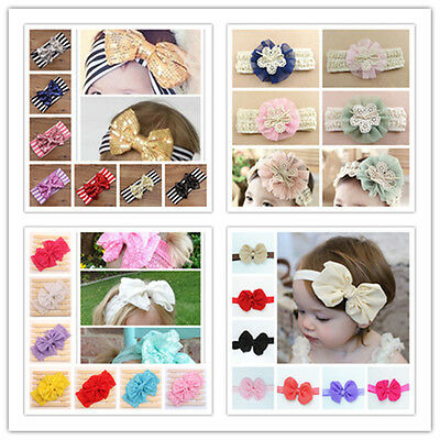 Kids Girls Toddler Baby Flowers Bow Elastic Headband Hair Band Accessories Sets