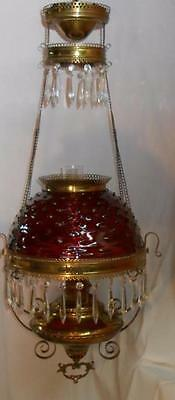 BRADLEY & HUBBARD Cranberry Hobnail Glass & Brass RETRACTABLE OIL HANGING LAMP