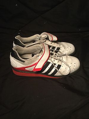 Adidas, Power Perfect 2, Olympic Lifting Shoes, White, Red, Black, Size 10