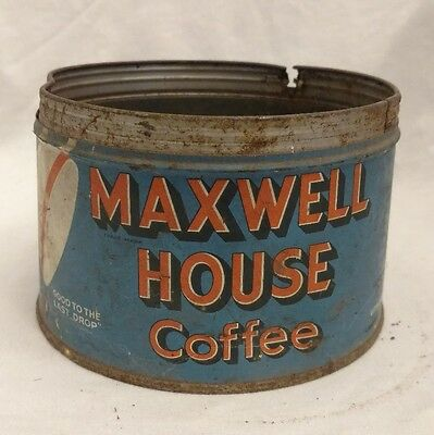 VINTAGE Maxwell House Regular Grind Coffee Tin Can Key open