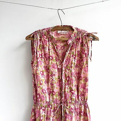 Vintage 70's Guinevere Peasant Dress Gauzy Floral Boho Tiered Maxi Poly Cotton