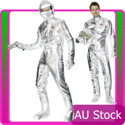 Mens Spaceman Costume Adult Astronaut Fancy Dress Space Man Nasa Silver Jumpsuit