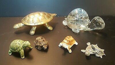 SIX (6) Turtle collectibles, lot #1- various material