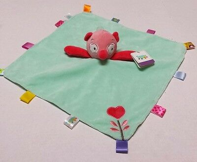 Taggies Pink Owl Teal Mint Green Baby Security Blanket Soft Rattle Lovey Toy New