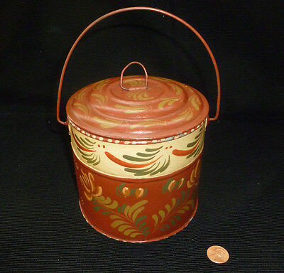 ~ vintage mid-century ~ tole metal CANISTER w/lid ~ hand painted