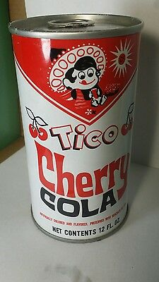 Tico cherry cola straight steel pull tab can.. top sealed