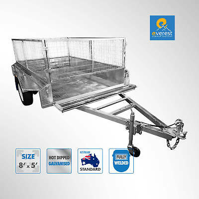 FULLY WELDED GALVANISED 8X5 BOX TRAILER WITH 600MM CAGE Brisbane North