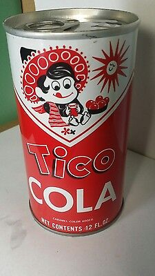 Tico cola straight steel pull tab soda can...top sealed
