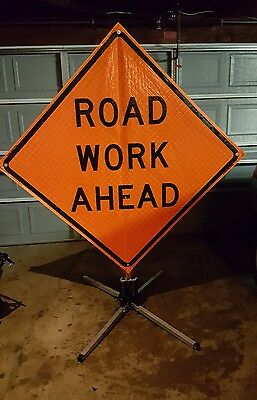 "Road Work Ahead 68"" X 68"" Roll Up Vinyl Sign with Collapsible Stand"