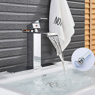 LED Light Widespread Bathroom Basin Sink Faucet 3 Hole Tub Sink Mixer Tap