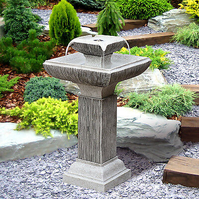 Outsunny Vintage Water Fountain Outdoor Patio 2 Tier Stone Effect Cascade LEDs