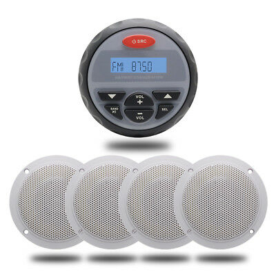 "Waterproof Audio Boat Stereo Bluetooth Car Radio MP3 Player+ 4"" Yacht Speakers"