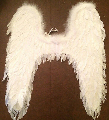 Angel Wings Costume Pieces White Feathers, Elastic Shoulder Straps Lot of 10