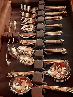 National Silverplate Flatware Astrid set for 8 + gumbo soup +spreaders EXCELLENT