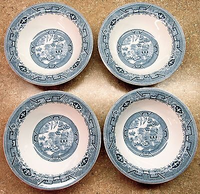 "(4) Vintage Kitchen Restaurant Light Blue Willow 6 1/4"" Bowls All Ex Condition"
