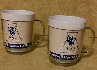 Vintage Maxwell House Coffee ALABAMA Logo Thermo Insulated Coffee Cup Mugs (2)