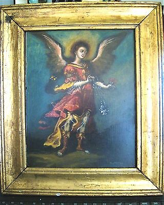 Original Oilpainting On Tin With The Iamge Of An Archangel Excellent Pece Framed