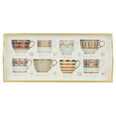 NEW Whitelaw & Newton Gold On White Antique Cups Sandwich Tray