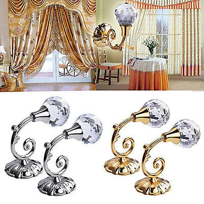2x Metal Crystal Ball Curtain Tie Backs Door Wall Tassel Hooks Holder Hanger Hot