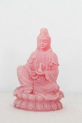 Pink Frosted Quan Yin Goddess of Mercy & Compassion Figurine 95mm