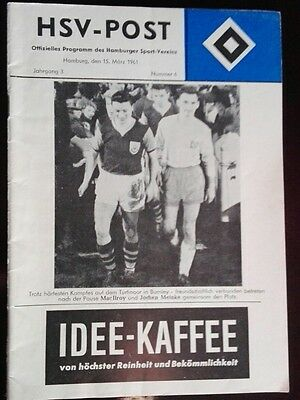 Programm 15.3.1961 EC Hamburger SV FC Burnley Stadionheft HSV Hamburg program