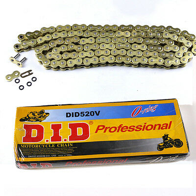 520 x 120 Links Motorcycle ATV O-Ring Drive Chain 520-Pitch 120-Links Golden AU