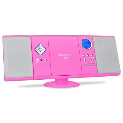 Oneconcept V-12 Pink Mp3 Cd Shelf Stereo Speaker System Usb Sd Aux Am Fm Radio