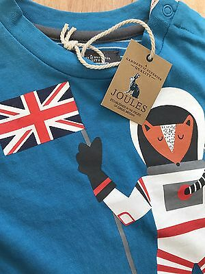 Joules Finlay 'spaceman' Blue Jersey Baby Boys Top Size Aged 9-12 Months