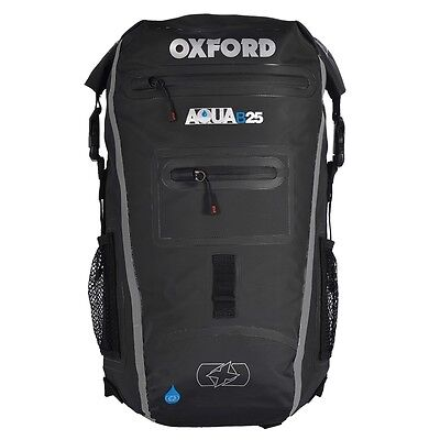 Oxford AQUA B25 Motorcycle Scooter All Weather Waterproof BackPack - BLACK/GREY