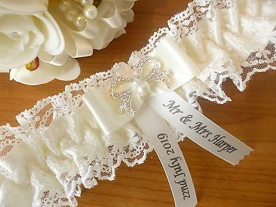 Bn Personalised Wedding Garter/hen Garter Colour Ivory With Diamante & Pearl Bow