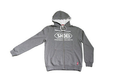 Shoei Motorcycle Helmets Logo Zip Up Hooded Jacket Hoodie - Grey