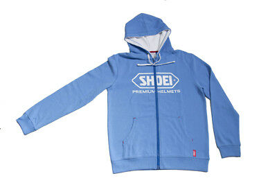 Shoei Motorcycle Helmets Logo Zip Up Hooded Jacket Hoodie - Blue
