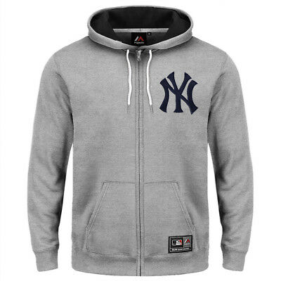 New York Yankees Majestic MLB Muilon Zip Hoodie Jumper - Grey