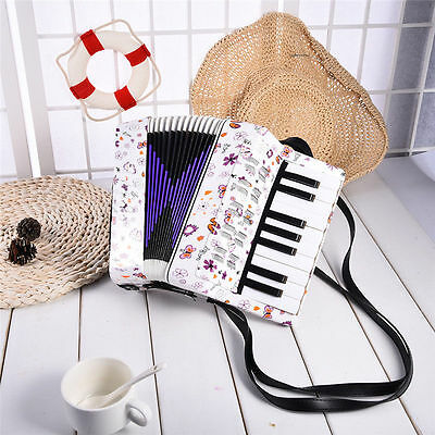 Beibeile Kids Piano Accordion 17 Keys 8 Bass Button Vintage Wind Educational Toy