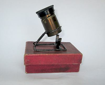 1900's ANTIQUE GERMAN POCKET TRAVELLING SURVEY MINIATURE MICROSCOPE w PAPER CASE