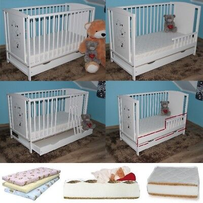 Teddy Bears Baby Cot With Drawer + Free Extra Barrier + High Quality 5 Mattress