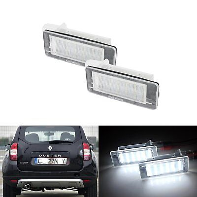 2x Renault License Number Plate 6000K White LED Light  Laguna Scenic No Error