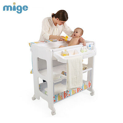 Baby Changing Table With Bath Nursery Changer Unit Storage Station Toddler Bath