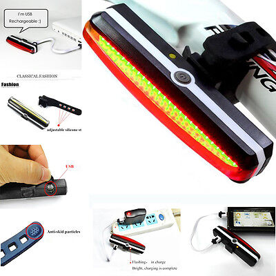 LED Bike Bicycle Solar USB Safety Rechargeable Tail Rear Light Flash Light