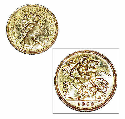 Pre-Owned 1982 Half Sovereign 22ct Gold Coin. Queen Elizabeth II