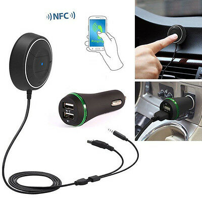 Bluetooth 4.0 JRBC01 NCF Car Kit 3.5mm Audio Receiver with 2.1A USB Hands- free