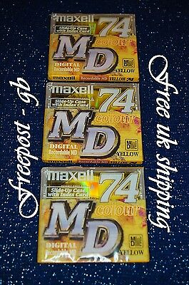 3 x MAXELL RECORDABLE BLANK MINIDISCS - 74 MINUTES - BRAND NEW BOXED WITH CASES
