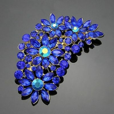 Stunning Gold Plated Blue Beaded Crystal Vintage Inspired Statement Brooch