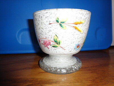 Antique compote, cased glass, hand painted, footed, unusual, unknown maker